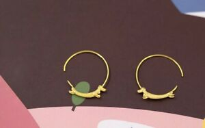 Solid Sterling Silver with 18k gold plating Dachshund dog hoop earrings