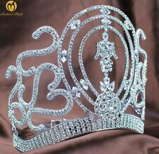 High Large Full Crystal Wedding Bridal Party Pageant Prom Tiara Crown Combs