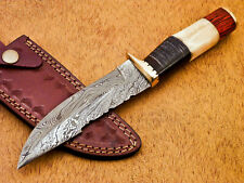 Rody Stan HAND MADE DAMASCUS BOWIE HUNTING KNIFE - BRASS GUARD - AD-696