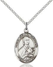 Sterling Silver Saint Gemma Galgani Medal Pendant, 3/4 Inch