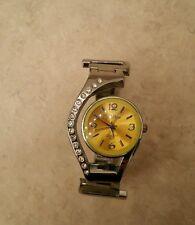 Rhinestone Stud Steel Bangle Watch in Yellow