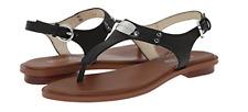 Michael Kors MK Plate Thong Sandal Black Leather Silver Hardware Size 9.5 M