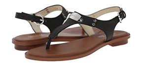Michael Kors MK Plate Black w Silver Hardware Leather Sandal Women's sizes 5-11!
