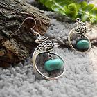 Boucles d'oreilles Tibétaines en Argent Tibétain et Turquoise reconstituée