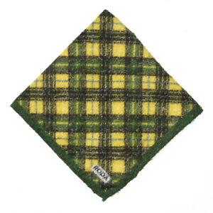 NWT RODA Textured Green and Yellow Plaid Check Print Pocket Square