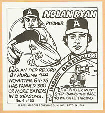 1979 Topps Big League Gum Astros' Nolan Ryan Oversize Artwork