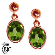 Peridot 9 Carat Rose Gold Fine Earrings