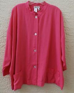 Coldwater Creek XL pink jacket 3/4 sleeve mandarin collar business office