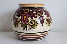 Vase Paul Fouillen French hand painted faience Quimper  Géometric décor