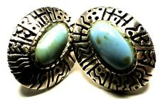 Vintage Hand-Carved .925 Sterling Silver Blue Turquoise Pierced Thai Earrings