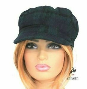 Navy & Green Tartan Check Baker Boy Newsboy Cap Hat Womens Ladies Wool Blend New