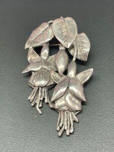 Vintage Designer Large Silver Signed Art Deco Flower Brooch Jewellery