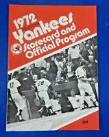 1972 NY YANKEES SCORECARD & PROGRAM vs WHITE SOX ~ BASEBALL