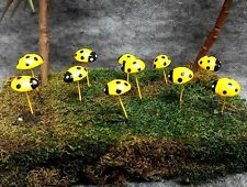10 LADYBUG NEW DOLL HOUSE MINIATURE FAIRY GARDEN YELLOW COLOR BEAUTIFUL