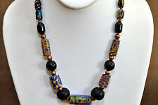 Antique Venetian, Blue Glass and Wooden Beads Necklace