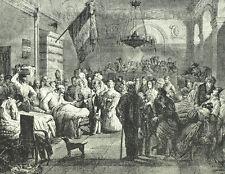 Reine Marie Amélie Ambulance de la Bourse Gravure XIXème