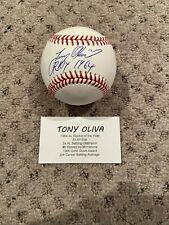 TONY OLIVA SIGNED BASEBALL W/ ROY 1964 INSCRIPTION TRISTAR AUTHENTIC AUTO TWINS