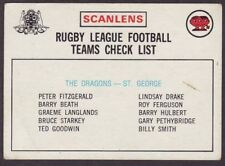 Checklist 1975 Season NRL & Rugby League Trading Cards