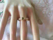 Antique Art Deco Vintage Gold Ring Peridot Green Sapphire White stones size X