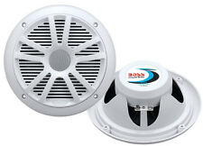 "Best New Pair BOSS MR6W 6.5"" Dual Cone 180W White Marine Boat Car Audio Speakers"