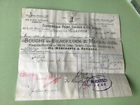 Blacklock & Macarther 1905 Oil Merchants & Refiners Glasgow  Receipt Ref R32381