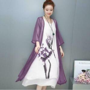 Womens Chinese Linen Long Dress Floral Print Chiffon Jacket Coat 2Pcs Tops 2021