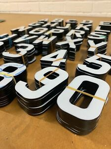 4D LASER CUT LETTERS for NUMBER PLATES/SIGNS self peel adhesive 5mm GLOSS BLACK