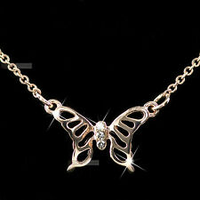 18K ROSE GOLD GP MADE WITH SWAROVSKI CRYSTAL PENDANT NECKLACE FILIGREE BUTTERFLY