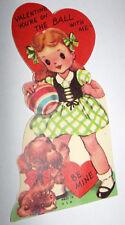 Vtg 1950s Little Girl Puppy Dog Ball Children's Valentine's Day Card