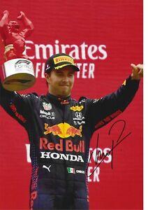 STUNNING SERGIO PEREZ SIGNED 2021 RED BULL RACING F1 12x8 GLOSSY PHOTO2