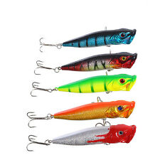 5pcs Artificial Popper Fishing Lures Fish Hooks Crankbaits Spinner Bait Tackle