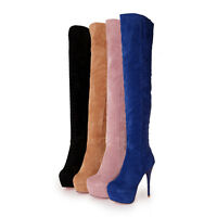 Fashion Womens Faux Suede Over The Knee Thigh Boots Stilettos High Heel Platform