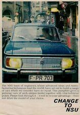 NSU 1967-68 UK Market Foldout Brochure Prinz 1000 110 TT TTS Sport Coupe Spider
