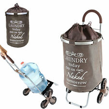 dbest products 38 Inch Stair Trolley Dolly with Laundry Hamper, Brown (Open Box)