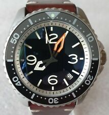 """SEIKO SKX007 Mod """"Aviator Style 3"""" NH36A vintage leather strap new condition"""