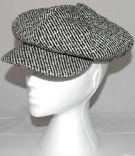 Ladies Flat Cap 8 Panel Button Gatsby Hat One Size A003.45 Black White Wool Mix