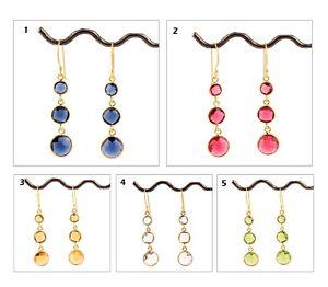 Three Stone Hydro Quartz Yellow Gold Plated Bezel Setting Gemstone Earring Pairs