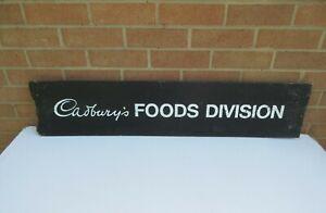 Vintage old Cadburys Foods Division wooden sign