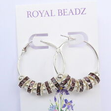Pale Ameythst Purple Crystal Beads Silver Hoop Earrings Basketball Wives Insp