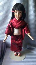 "Vtg Porcelain Japanese Geisha Doll in Vibrant Satin Kimono w/Stand 16.5"" Tall"