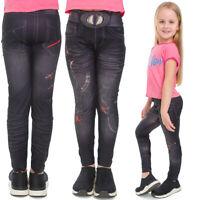 Girls Full Length Leggings Demin Imitation Print Schoolwear Stretchy Pants T9015