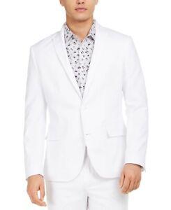 INC Mens Sport Coat White Size Small S Slim Fit Peak Collar Solid $139 #179