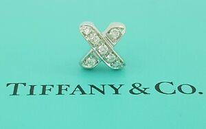 "TIFFANY & Co ""X"" 18K White Gold 0.18 ct Round Diamond Single Stud Earring"