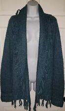 BANDOLINO Denim Turquoise green Wool Blend Fringe Open front Cardigan Sweater M