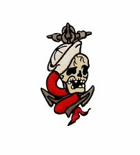 Artist Reed Navy Anchor Sailor Skull Embroidered Iron On Badge Applique Patch
