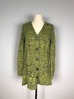 Carole Little Gray and Green Wool Blend Art to Wear Button Sweater Women's S