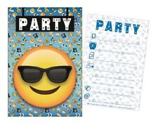 Pack 5 Cartes / Cartons Invitations SMILEY EMOJI Fête Anniversaire Enfant