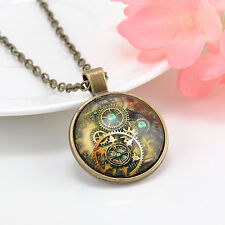 Metal Steampunk Gears Clock Watch-Face Glass Art Pendant Chain Necklace New CH