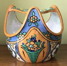 Vintage Noritake Japan Porcelain Art Deco  Hand Painted Flower Frog Planter Vase