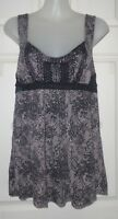 JUST JEANS Size S Black Paisley Print Cotton/Viscose Stretch Knit Top w Beading
